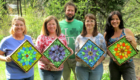 Kasia Polkowska Stained Glass Mosaic Flower Workshop Boulder Colorado May 2014 Group Shot