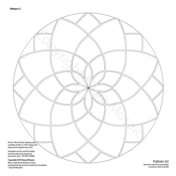 Kasia Mosaics Classes » Template Download: Mandala Design #2